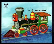 Gambia - 1987 - Disney - Train - Chip 'n Dale - Mickey 60 th - Mint S/Sheet!