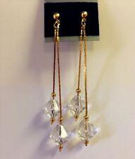 Vtg 80s Shoulder Duster Earrings Dangle Gold Tone Chandelier NOS Long DIAMOND