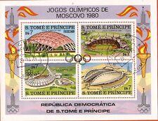 251 SAN TOME E PRINCIPE 1 bloc de 4 timbres oblit.les stades des J.O et football