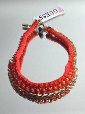 """GUESS Red-Orange Collar Necklace Crochet """"London Meets Ibiza"""" Gold Chain $38"""