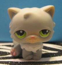 Littlest Pet Shop #182 Gray & White Persian Kitty Cat w/ Green Eyes