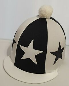 RIDING HAT COVER - WHITE & BLACK WITH LARGE SEWN STARS & WHITE POMPOM