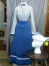 Victorian Dress Womens Edwardian Costume Civil War Reenactment w Hat Med Lg