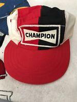 VINTAGE Champion Spark Plug Hat 4 Panel Color Block 80s Patch Logo