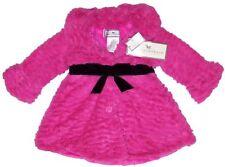NWT American Widgeon Hot Pink Faux Fur Coat, Black Velvet Belt & Bow, size 3T