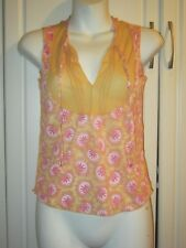NWT Womens Free People Printed Summer Top W Semi Sheer Panel Size XS In Butter