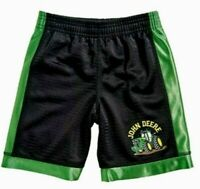 John Deere Boy's Black with Green Stripe Mesh Shorts J Deere Tractor on Leg NWOT