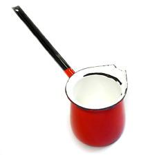 Vintage Enamelware Long Handled Sauce Ladle POLAND Red & White