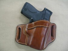 S&W Shield .45 OWB Leather 2 Slot Molded Pancake Belt Holster CCW TAN RH