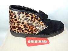 Clarks Ladies BOOTS Size 6 Desert Ankle Lace up Black Leopard Boot Originals