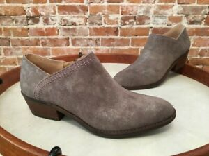 Lucky Brand Frenzee Gray Frost Leather Embroidered Shootie Boot 8.5 38.5 New