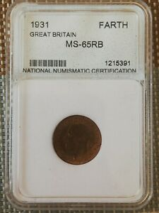 Great Britain 1931 Farthing GRADED UNC