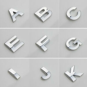 3D (A-Z) DIY Metallic Alphabet Sticker Car Emblem Letter Silver Badge Decal 25mm