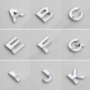 3D (A-Z) DIY Metallic Alphabet Sticker Car Emblem Letter Silver Badge Decal 25mm
