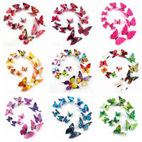 12Pcs/set 3D Life-like Butterfly Magnetic Wall Stickers  Home Room Decor