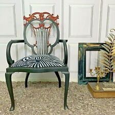 ANTIQUE ACCENT CHAIR THRONE CHAIR ORNATE CARVINGS BLACK