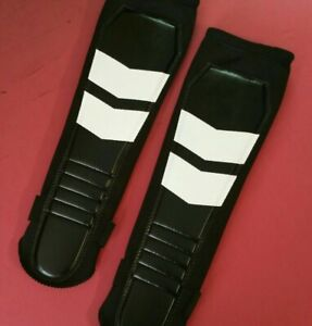 Pro Wrestling KICKPADS Black With White Chevrons Gear - TRUNKS TIGHTS NEW