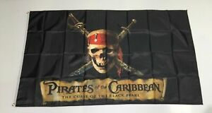 Pirates Of The Caribbean Banner Flag The Curse of the Black Pearl Movie Man Cave