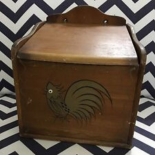 Vintage Woodpecker Woodware Retro Handpainted Wall Hanging Wood Box Lid Bread