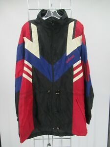 I9573 VTG Adidas Full Zip Windbreaker Parka Jacket Size L