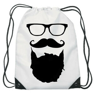 Funny Beard Drawstring PE Bag Personalised swimming shoes Gym