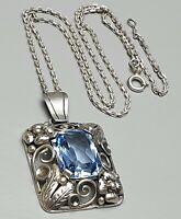 Großer Anhänger Frankreich um 1900 echt Silber Art Nouveau Blautopas & Kette/A26