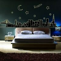 Wall Stickers Fluorescent City Glow In The Dark Wall Decals Vinyl Wallpaper