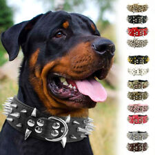 Spiked Studded PU Leather Dog Collar Adjustable Medium Large Dog Doberman Boxer