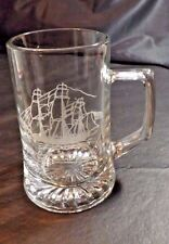 5 3/4 In High Clear Glass Mug Attached Handle Etched Ship Grand Turk Design #2