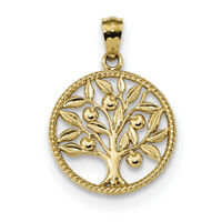 14k Yellow Gold Polished Tree Of Life in Round Pendant K5944