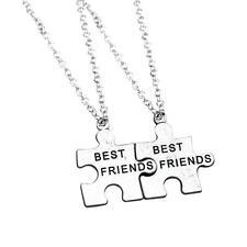 2pcs Best Friend Charm Pendants Chain Puzzle Piece BF Necklace Vintage Silver MT