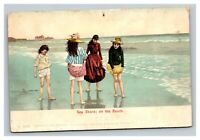 Vintage 1900's Postcard Four Girls in Dresses At the Seashore on the Beach