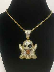 """Gold Plated Snapchat Ghost Emoji Iced Out Lab-Diamond With 22"""" 3mm Rope Chain"""