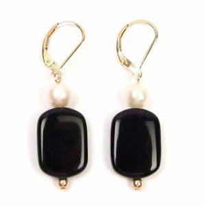 Genuine White Pearl & Black Agate 14K Gold Filled Lever Back Earrings