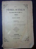 OTTOCENTINA C. BALBO DELLA STORIA D'ITALIA DALLE ORIGINI FINO ALL'ANNO 1814-1846