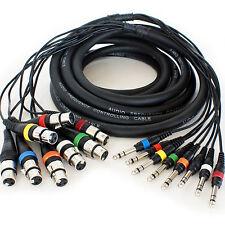 Pro 5m 8 vías de 6.35mm Estéreo Jack a 3 Pin XLR Hembra Cable-Plomo de serpiente de audio Telar