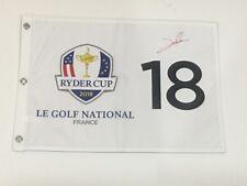 JON RAHM SIGNED 2018 RYDER CUP FLAG LE GOLF NATIONAL FRANCE TEAM EUROPE PROOF
