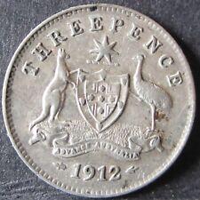 1912 Australia 3d Threepence ** ERROR GHOSTING ** #PW1804-6