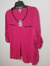 Worthington PXL Petite XL Long Sleeve Blouse Pink New - BIN95