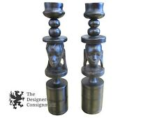 Pair Vintage Ebony Exotic Hand Carved Wood Figurial Candlestick Holder Primitive