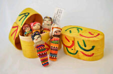 """5x Large Guatemalan Worry Dolls in a BOX - Hand Made Mayan Trouble Doll 2"""" NEW"""