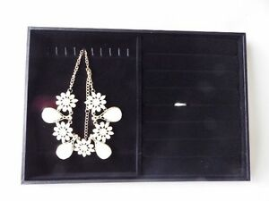 Necklace Pendant Chain Necklace Ring Display Tray - Black Velvet 35cm x 24cm