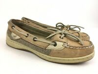 Sperry Top Sider Womens Tan Size 6.5 Angelfish Leather Linen/Oat Boat Shoes