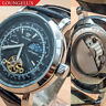 Mens Skeleton Automatic Wind Mechanical Move Moon Phase Wrist Watch Silver Black