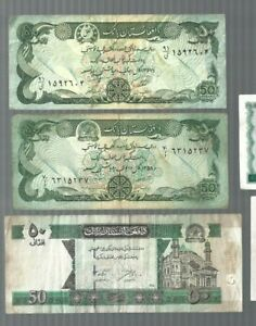 Afghanistan ✨ 1978 1979 2002 ✨ 50 Afghanis x 3 ✨ Collection & lots #2425