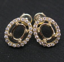 Fashion! 5×7MM Oval Cut Solid 14K Y/Gold Natural Diamonds Semi Mount Earrings