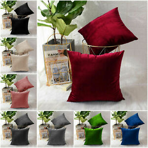 Luxury Crushed Velvet Cushion Covers Sofa Bed Pillow Throws Soft Plain Cushions