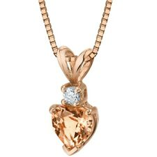 14K Rose Gold Heart Shape 0.75 ct Morganite Diamond Pendant, 18""