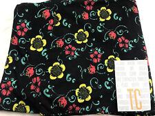 Lularoe Coral,yellow,green Floral Print On Black TC Legings Plus Size NEW HTF!