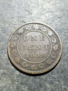 1859 Canada 1 Cent Queen Victoria Coin #july311